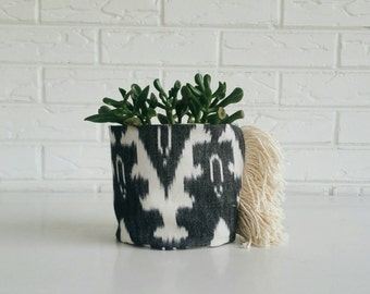 Black and White Ikat Planter - Textile Plant Cover - Boho Fabric Planter