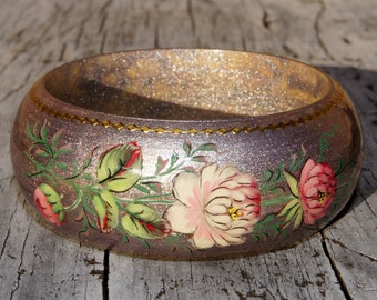 Sparkly Silver and Gold Hand Painted Floral Bangle Bracelet