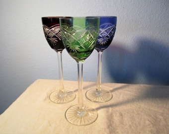 Vintage Bohemian Style Three Cut Crystal Wine Glasses or Goblets