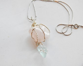 Blue Sea Glass Rose Quartz Necklace,  Genuine Rose Quartz and Blue Seaglass Jewelry, Sea Glass Jewelry, Love Stone, Alaskan Seaglass