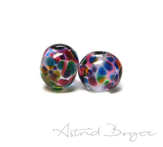 Church Windows Stained Glass Artisan Lampwork Bead Pair -Vivid Transparent Colors over Crystal Clear Glass Perfect for Orb Earrings Necklace