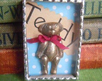 Fiona and The Fig Teddy Bear Shadowbox - Charm-Necklace-Pendant-Jewelry