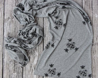 Bee Scarf, honey bee scarf, Bamboo scarf, organic cotton, Long scarf, hand printed original art, bee print, bee and honey comb, bumble bee