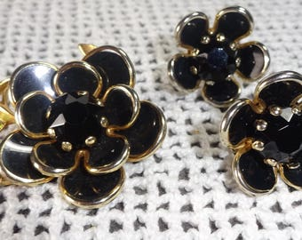 Vintage Jet Black Glass Flower Brooch and Glass Earrings