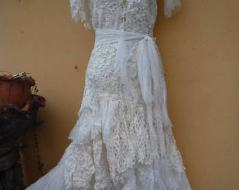 """20%OFF vintage inspired shabby bohemian gypsy dress ..smaller to 34"""" bust..."""