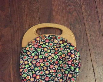 bermuda bag purse interchangable floral  vintage wooden handle