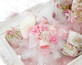 Pink Princess Roses and Romance Luxe French Holiday Christmas garland Holiday table floral wall hanging Lace Bridal Roses Shabby Chic