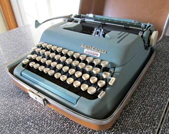 Vintage Typewriter with Case & Key for Display Only - Nonworking Smith Corona Silent Super Typewriter - MCM Art Deco Blue Metal Typewriter