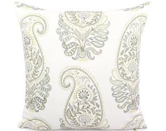 Green  Brown Yellow White Paisley Pillow Cover, Custom Square and Lumbar, Faux Embroidered Floral Cushion Sham, Boho Accent, Jada Linen