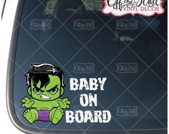 "Baby Hulk ""BABY ON BOARD"" Vinyl Sticker"