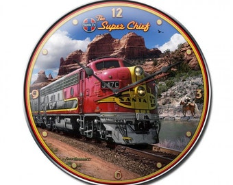 Vintage metal clock,Santa Fe super chief train clock,  train, man cave, railroad,  garage decor