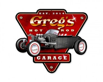 Personalized hot rod Garage   metal sign, man cave, garage art, garage decor, street rods