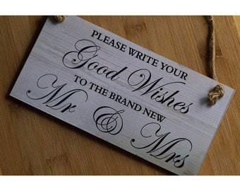Custom Made Wood Guest Book Sign Good Wishes Mr and Mrs