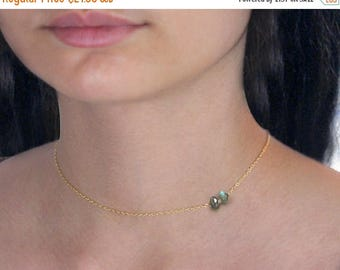 20% off. Labradorite and gold filled necklace, with 2 delicate labradorite gemstones. layering necklace in grey and gold