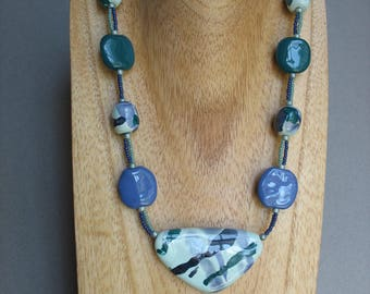 Bright Blue and Green Kazuri Bead Necklace