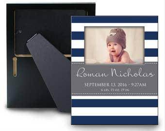 Custom Personalized Baby Boy Picture Frame with Birth Announcement - Choose your Colors and Pattern - New Baby Gift - Stripes Nursery Decor