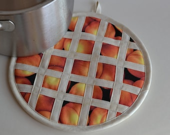 Peach Pie Hot Pad Pot Holder, kitchen fruit decor