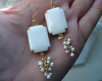 Vintage Art Deco White Milk Glass Gold Earrings Exquisite 1960's Tiny Faux Pearls Cacade Dangles