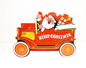 Vintage Here Comes Santa Card Holder