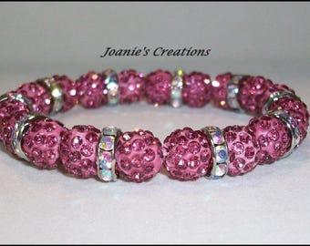 10mm Rose Colored Shamballa Crystal Pave Beaded Stretch Bracelet
