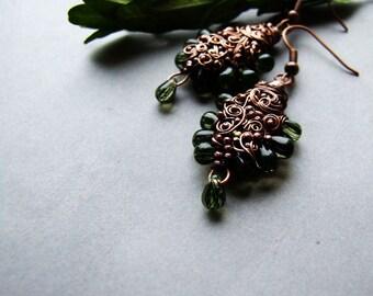 Green Woods Earrings, Long Bohemian Elvish Earrings, Nature Inpisred, Green Glass Jewelry, Boho Earrings