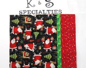 Santa Pillowcase Featuring Joyful Santas, Wrapped Gifts, Reindeer, Trees/ Black Snowy Background/ Red Polka Dot Cuff/ Unique Christmas Gift