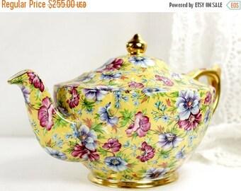 Sophie Chintz Tea Pot, James Sadler Transferware Teapot, Yellow Floral Chintzware 11633