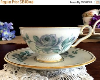 Vintage Teacup, Royal Tettau, Teacup and Saucer, Blue Roses, Germany 13802