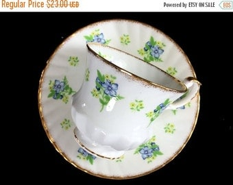 Queens Rosina Teacup, Tea Cup and Saucer, Blue & Yellow Floral English Bone China 13826