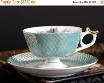 Cherry China, Tea Cup, Vintage Cup and Saucer, Pearlized Teacups, Bone China, Japanese Cups 13899