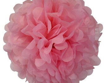 Bright Pink Tissue Pom Pom 4 or 8 inch Set of 2 /Weddings/Showers/Birthdays/Parties