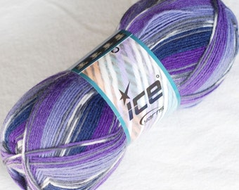 Self Striping Sock Yarn, Superwash Wool, 100g, Sale, Discount, Fingering Weight, Ice Yarn, Purple, Lilac