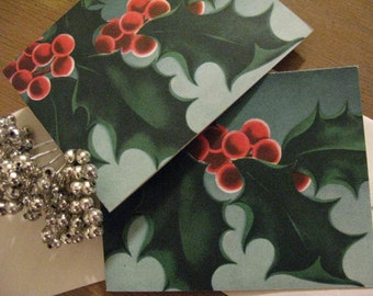 Pair Vintage Holly Splendor Circa 1940s Christmas Cards UNUSED with Envelopes, Luscious Matte Paper, Greens Teal Red by  Norcross New York