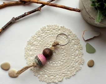 Keychain wood beads hand painting macrame pink blue