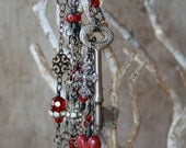 Reserved - Custom Order - Red Heart Necklace - Key Necklace