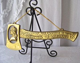 Vintage Brass Hatchet George Washington Bicentennial Commemorative 1776-1976