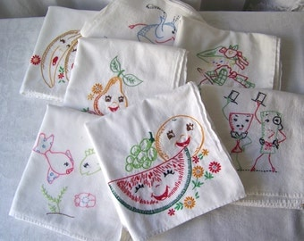 Vintage Seven Days Dish Towels Embroidered Hand Towels Extra Large Kitchen Towels Bridal Shower Wedding Gift 1960s