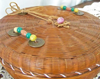 Vintage Chinese Sewing Basket Spools of Thread Buttons Lace Basket Woven Basket Sewing Room Vintage 1930s