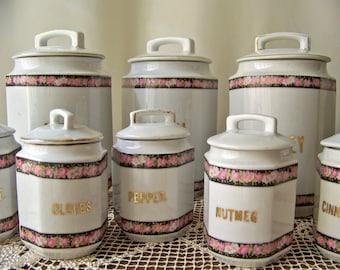 vintage canister spice jar set west germany shabby cottage decor antique kitchen decor porcelain spice jars vintage ceramic light fixture art deco working flush mount  rh   etsy com