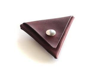 Leather Triangle Coin Pouch,Leather Coin Purse,Coin Holder,Genevieve Leather,Snap Purse,Coin Wallet,Men Coin Purse,Brown Leather Pouch