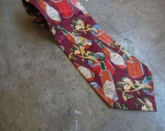 Vtg Silk TABASCO Print Tie Necktie 90s