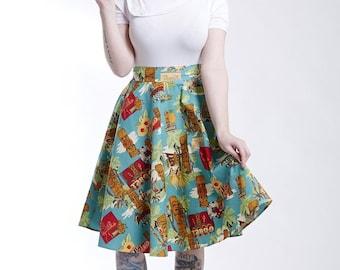 Tiki Print Swing Skirt