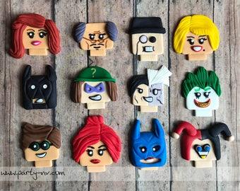 EDIBLE (Fondant Toppers) - Lego Batman Movie Inspired