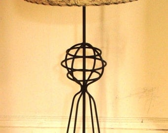 """A HANDFUL EXIST - Absurdly Rare 1950's Harry Lawenda Tall 40"""" Iron Table Lamp"""