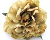 "6"" Variegated Beige Sage Peony Poly Silk Flower Brooch Pin"