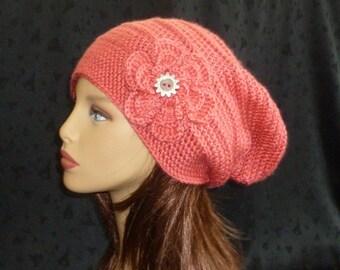 Crochet Slouch Beanie, Slouchy Hat, Winter Fashion, Slouch Beanie, Slouch Hat with Flower - Peach