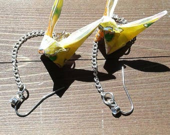 Origami bunny earrings - yellow