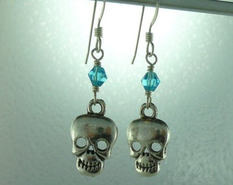 Skull Pewter Charm w/ Blue Swarovski Cyrstal Sterling Silver Earrings
