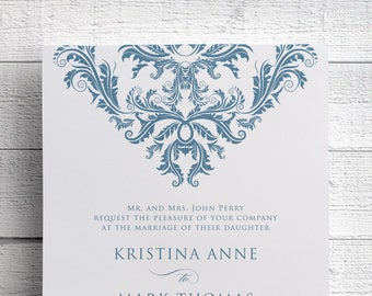 Vintage Damask Wedding Invitations, Vintage Wedding Invitations, Damask, Blue Wedding, Niagara Blue, Formal Wedding, Invitation Template