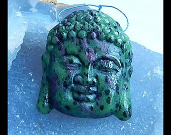New,Carved Ruby And Zoisite Buddha Head Pendant Bead,48x39x10mm,37.7g